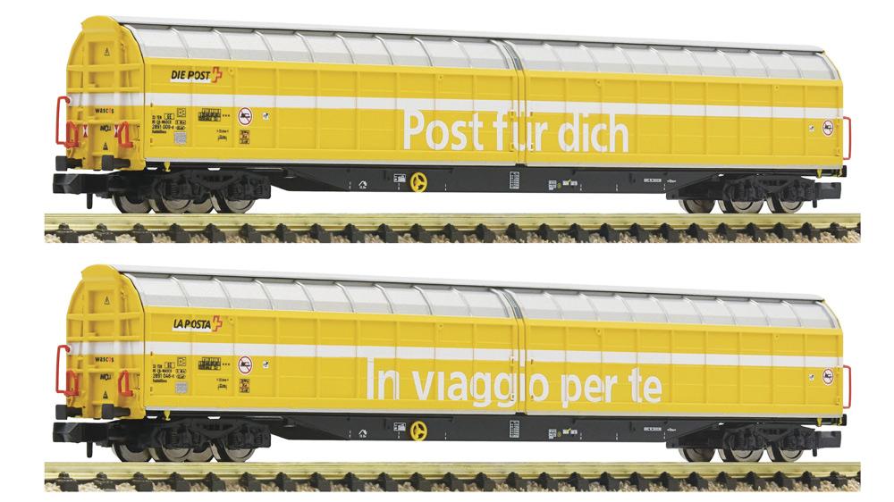 Vagoane de mare capacitate cu pereti culisanti, Post, SBB, Set 2 piese