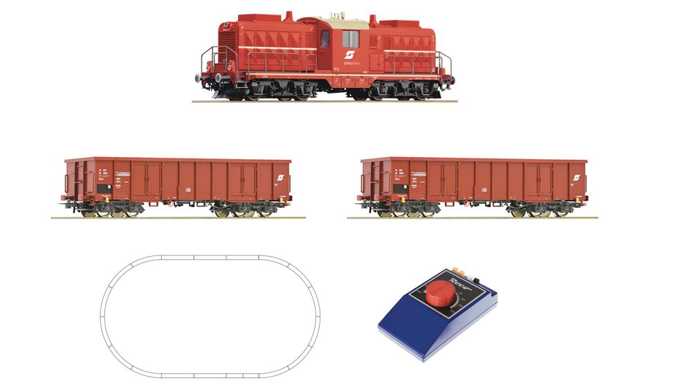 Locomotiva diesel clasa 2045 cu vagon de marfa OBB, analog