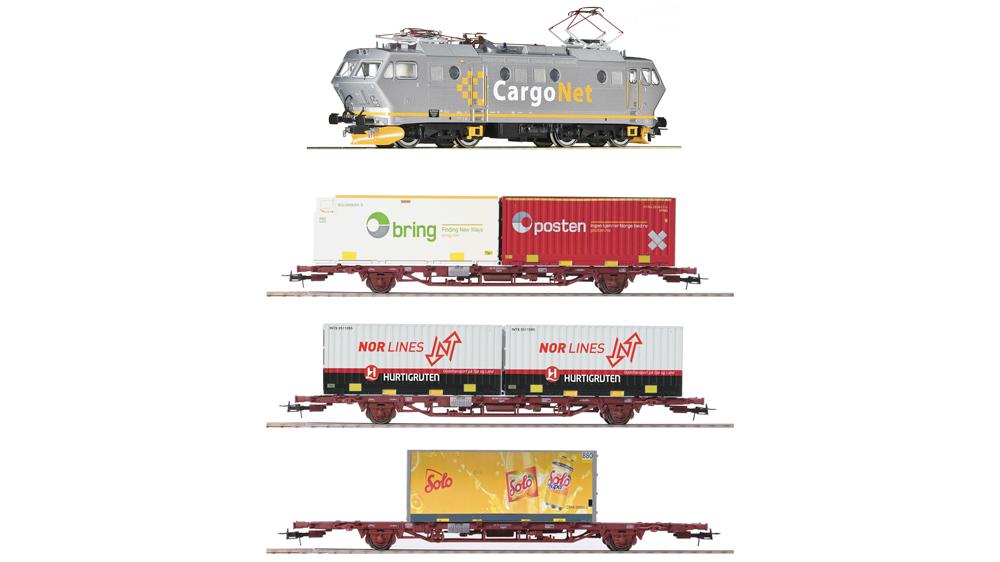 Locomotiva electrica EL 16 si vagon de marfa, CargoNet, Set de 4 piese