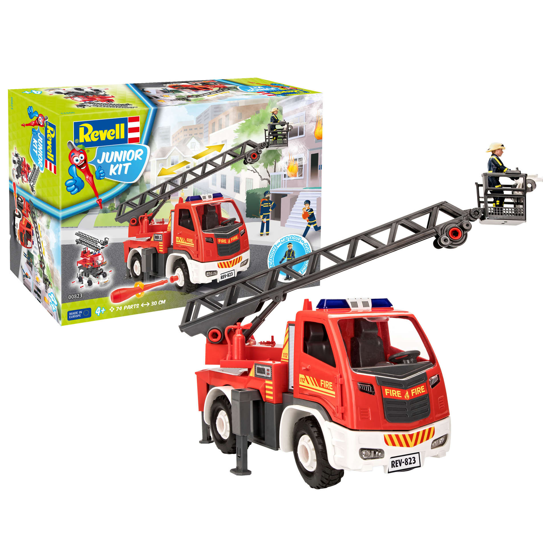 Fire brigade ladder wagon with figure